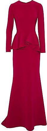Reem Acra Reem Acra Woman Fluted Cady Peplum Gown Claret Size 6