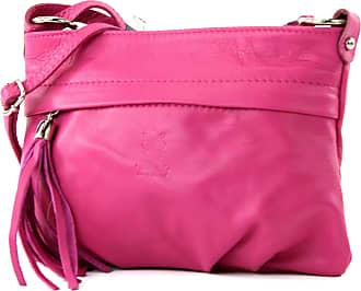 modamoda.de modamoda - ital. Shoulder Bag Handbag shoulder bag ladies bag leather mini T32, Colour:pink
