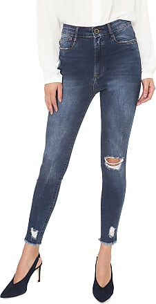 Enna Calça Jeans Enna Skinny Destroyed Azul