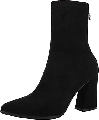 a6490ab6d53 Mashiaoyi Binying Womens Pointed-Toe Block Heel Zip Suede Ankle Boots UK 2  Black