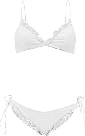 Oséree Ruffled Glitter-embellished Bikini - Womens - White