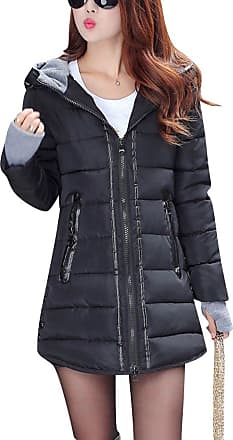 ZongSen Womens Long Down Coat Hooded Ultralight Packable Jacket Warm Coats Outwear Black XL