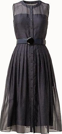 Akris Sleeveless Polka Dot Organza Midi Dress