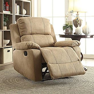 ACME AC-59526 Recliner, One Size, Light Brown Polished Microfiber