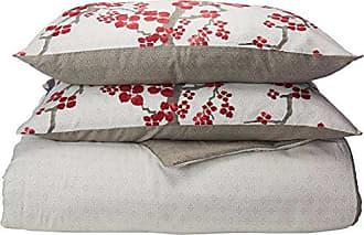 Natori Cherry Blossom Cal King Size Bed Comforter Set - Red, Grey, Cherry Blossom - 4 Pieces Bedding Sets - 100% Cotton Sateen Bedroom Comforters