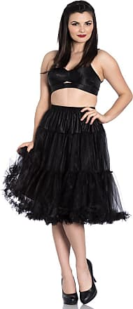 Hell Bunny Polly Long Tulle Petticoat Swing Flare Skirt 50s Rockabilly Vintage - Black (3XL/4XL)