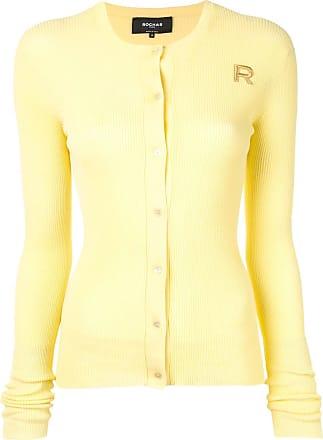 Rochas Cardigan de tricô canelado - Amarelo