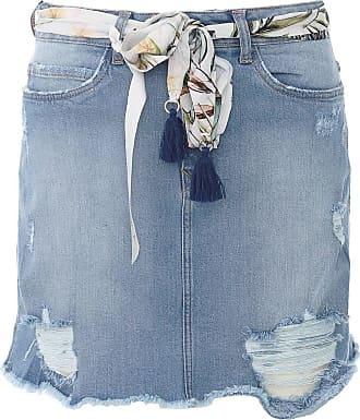 Lez a Lez Saia Jeans Lez a Lez Curta Destroyed Azul