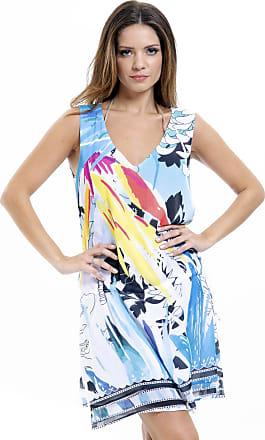 84c2c4134 101 Resort Wear Vestido Evasê 101 Resort Wear Crepe Estampado Azul