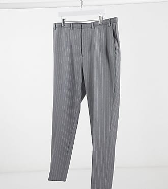 Burton Menswear Big & Tall skinny suit trousers in grey & pink stripe