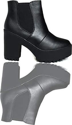 Ikrush Jaz Chunky Heeled Ankle Boots Black UK 8