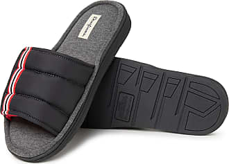 Dearfoams Mens Cooper Quilted Adjustable Strap Slide Slipper, Black, Medium