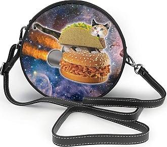 Turfed Space Taco Cat Print Fashion Round PU Crossbody Handbag Round Shoulder Bag For Women Girls
