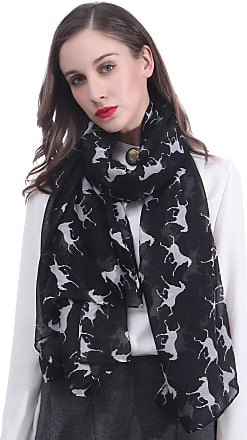 Lina & Lily Horse Print Womens Large Scarf Lightweight (Black)(Size: 180 X 100 cm)