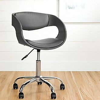 South Shore Furniture Annexe Home Office Faux-Leather Adjustable Height Chair on Wheels, Gray