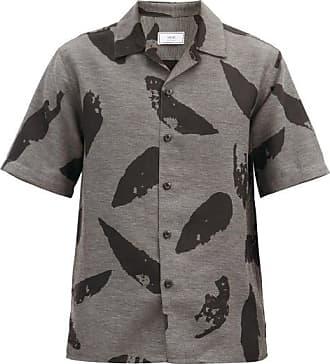 Ami Ami - Feather-print Short-sleeved Shirt - Mens - Grey Multi