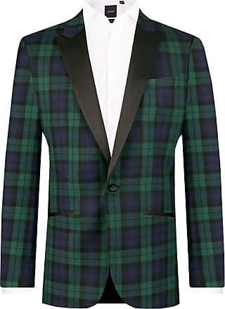 Dobell Mens Black Watch Tartan Tuxedo Dinner Jacket Slim Fit Contrast Peak Lapel-38S