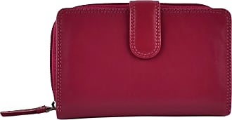 Visconti Ladies Medium LEATHER Purse/Wallet by Visconti; Heritage Collection Gift Boxed (Fuchsia)