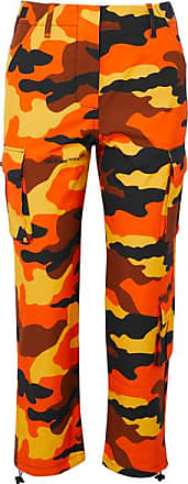 Off-white Camouflage-print Cotton Straight-leg Pants - Orange