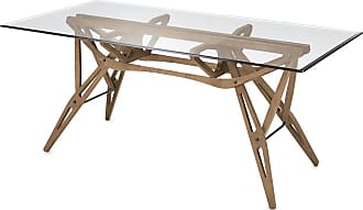 ZANOTTA Design Reale Dining Table Canaletto Walnut Dyed Oak & Glass Top