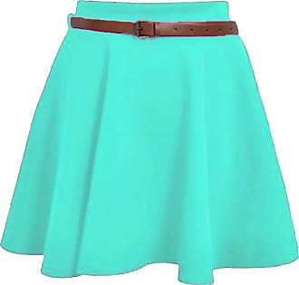 ZEE FASHION Skater Belted Stretch Waist Plain Flippy Flared Jersey Short Skirt Womens Size 8-22 Mint