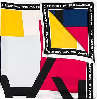 Karl Lagerfeld Seidenschal mit Logo-Print - Blau