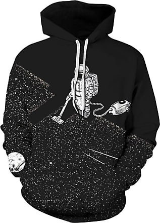 EUDOLAH Mens Long Sleeve Tops Graphic 3D Prints Hoodies Novelty Sweatshirts Colourful Pullover Jumpers (2XL/3XL, 182black Astronaut)