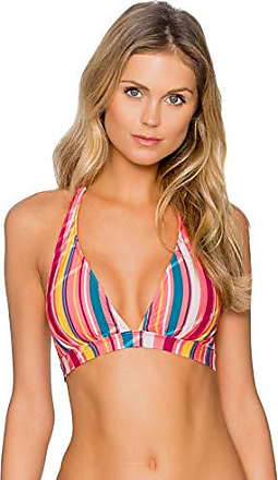 Sunsets Womens Halle Plunge Halter Bikini Top Swimsuit, Bungalow Stripe, Large