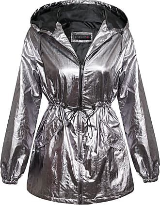 Shelikes New Womens Fashionable Shiny Metallic Silver Party Coat_Silver_M