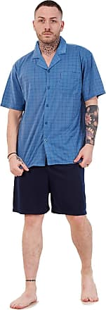 JD Williams Mens Short Pajama Set Cotton Jersey Classic Check Lounge Wear Nightdress M-XXL Blue
