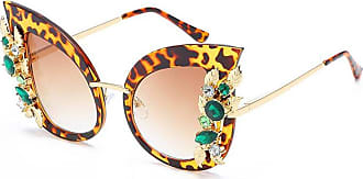 Inlefen Woman Cat eye Sunglasses Stylish oversized frame Eyewear with Rhinestones