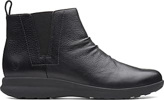Clarks Un Adorn Mid Leather Boots in Black Standard Fit Size 7.5
