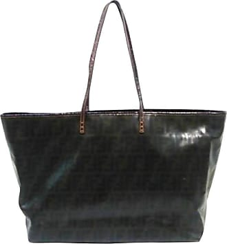 173c1ec909f3 Fendi Ff Zucca Patent Roll 228069 Dark Brown Coated Canvas Tote