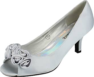 Spot On Ladies Spot On Peep Toe Court Shoes F10057 Silver Size UK 6
