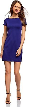 oodji Womens Boat Neck Dress in Textured Fabric, Blue, UK 6 / EU 36 / XS