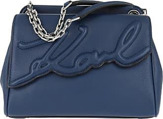 Karl Lagerfeld Signature Soft Shoulderbag Washed Nvy Umhängetasche blau