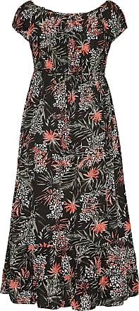Yours Clothing Clothing Womens Palm Animal Bardot Maxi Dress Size 26-28 Black