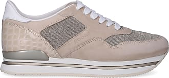 56d9941698d135 Hogan Sneaker low H222 Kalbsleder Textil Veloursleder Logo Prägung  beige-kombi
