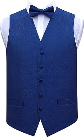 DQT Woven Greek Key Patterned Royal Blue Mens Wedding Waistcoat Bow Tie Set