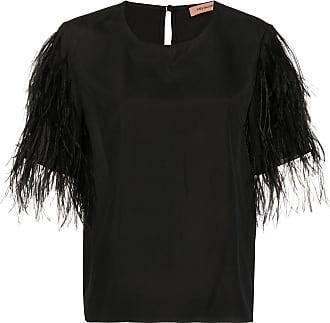 Yves Salomon feathered sleeve T-shirt - Black