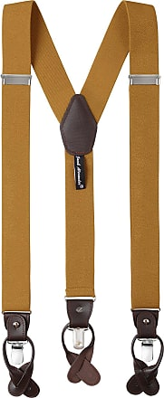 Jacob Alexander Mens Solid Elastic Y-Back Suspenders Braces Convertible Leather Ends Clips - Gold