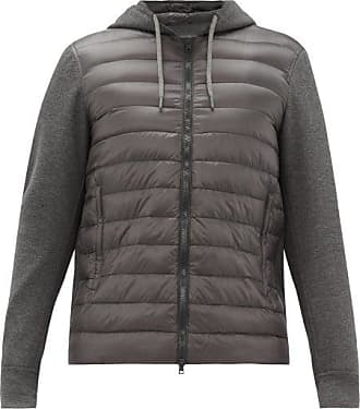 Herno Jersey And Quilted Shell Track Top - Mens - Dark Grey