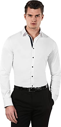 Vincenzo Boretti Mens Shirt Slim-fit Fitted Kent Collar Classic Design Plain Solid Colour Cotton-Stretch Long-Sleeve Designer Shirts for Men Formal Office Wedding Idea