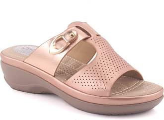 Unze Unze Women AUBREE Open Toe Perforated Indoor Casual Buckled Wedge Slippers UK Size 3-8 - 61785-2