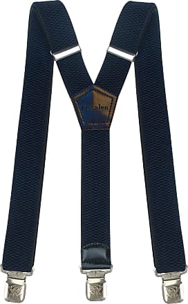 Decalen Mens Braces Wide Adjustable and Elastic Suspenders Y Shape with a Very Strong Clips - Heavy Duty (Navy Blue)