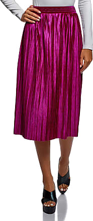oodji Collection Womens Pleated Skirt, Pink, UK 14 / EU 44 / XL