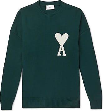 Ami Oversized Logo-intarsia Knitted Sweater - Green