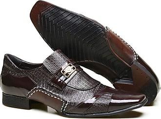 Calvest Sapato Social em Couro com Textura Chicago e Metal Dourado Calvest - 3260C981 Bordô - 41