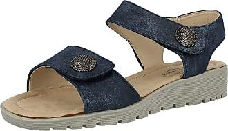 Cushion-Walk Ladies Metallic Faux Leather Open Toe Double Strap Touch Close Summer Sandals Size 3-8 (UK 7/EU 40, Blue)