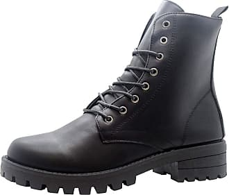 Saute Styles Ladies Lace Up Ankle Boots Chunky Platform Womens Biker Combat Zip Up Shoes Size 7